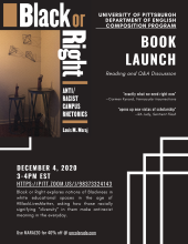 "Virtual launch for ""black or right"" Friday Dec. 4th!"