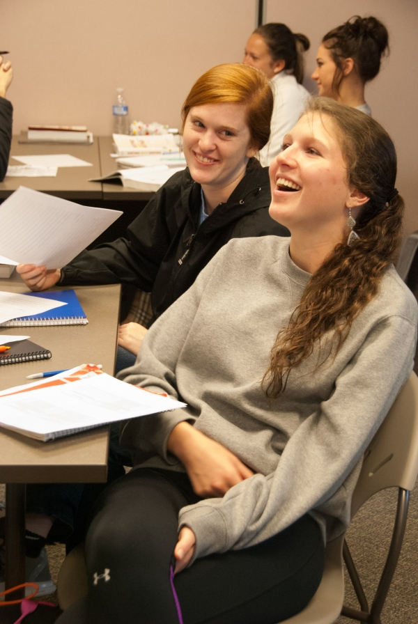 Students in Michael Rifenburg's first-year composition class at the University of North Georgia workshop their essays.