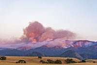 Whittier Fire, smoke along Highway 154, near Solvang California. ©Shutterstock/randyandy
