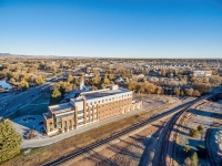 Powerhouse Energy Campus of Colorado State University - aerial view at a new building completed in 2014 and historic Fort Collins Municipal Power Plant.