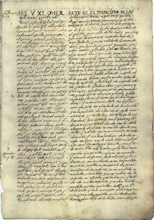 First page of Ximénez's Popol Wuj (Newberry Library, Chicago).